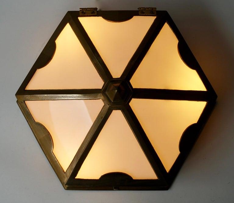 Pair or Single Art Deco Hexagonal Bronze and Plexiglass Flush Mount, Belgium For Sale 1