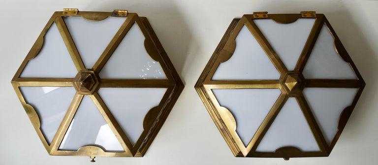 Pair or Single Art Deco Hexagonal Bronze and Plexiglass Flush Mount, Belgium For Sale 2