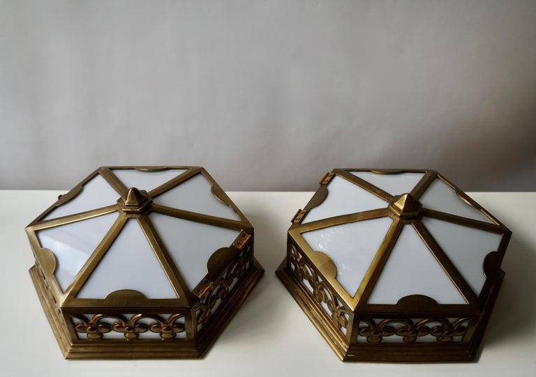 Pair or Single Art Deco Hexagonal Bronze and Plexiglass Flush Mount, Belgium For Sale 3
