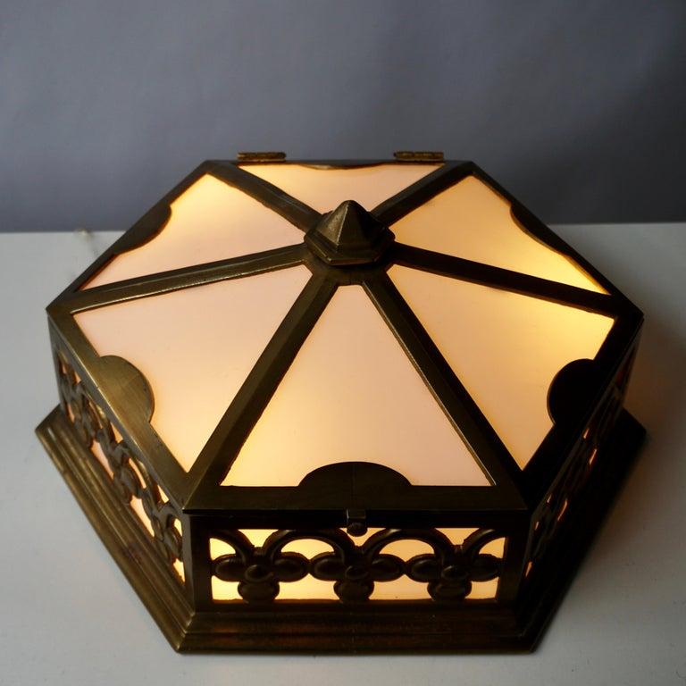 Pair or Single Art Deco Hexagonal Bronze and Plexiglass Flush Mount, Belgium For Sale 4