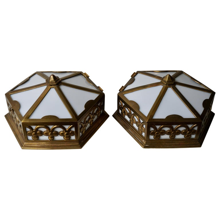 Pair or Single Art Deco Hexagonal Bronze and Plexiglass Flush Mount, Belgium For Sale