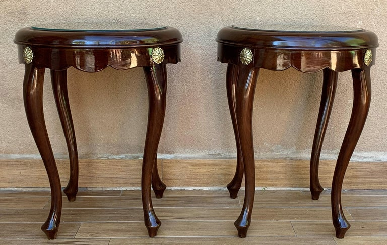 Pair or Single French Mahogany and Burl Low Side or Coffee Tables In Excellent Condition For Sale In Miami, FL