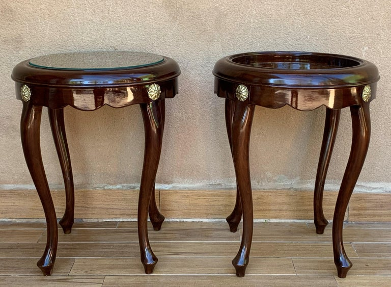 20th Century Pair or Single French Mahogany and Burl Low Side or Coffee Tables For Sale