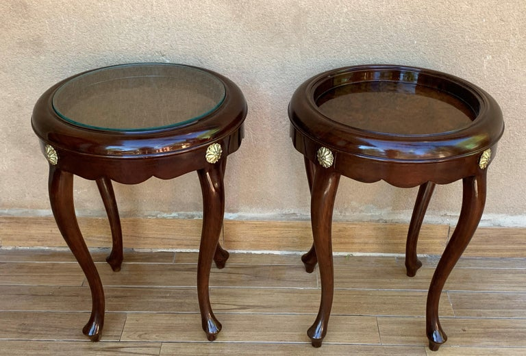Glass Pair or Single French Mahogany and Burl Low Side or Coffee Tables For Sale