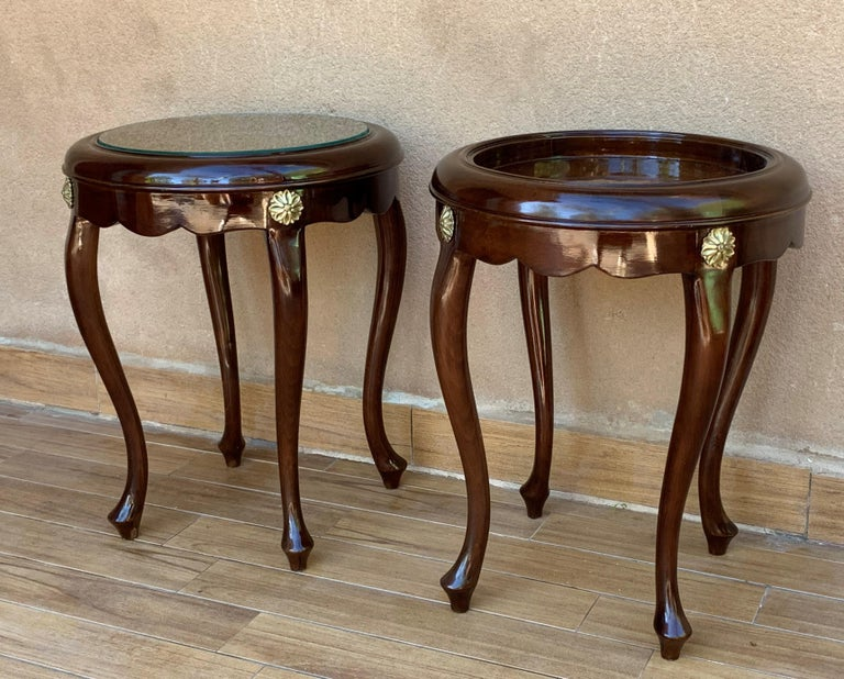 Pair or Single French Mahogany and Burl Low Side or Coffee Tables For Sale 1