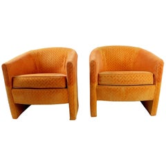 Pair of Orange Tub Chairs by Century Hickory Furniture  After Milo Baughman