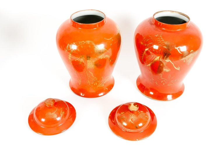 Mid-20th Century Pair  Oriental Porcelain Decorative Covered Urns For Sale
