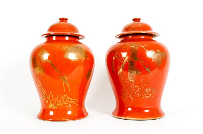 Pair  Oriental Porcelain Decorative Covered Urns For Sale 4