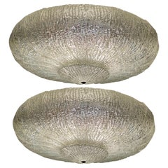 Pair Original Large Ceiling Flush Mount Lights by Barovier & Toso, Murano, 1940s