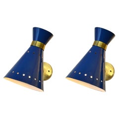 Pair of Blue & Brass Sconces Italy 1960's