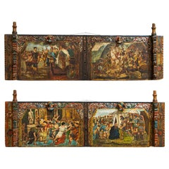 Pair, Original Painted Sicilian Donkey Cart Side Panels, Opera Muzio Scevola and