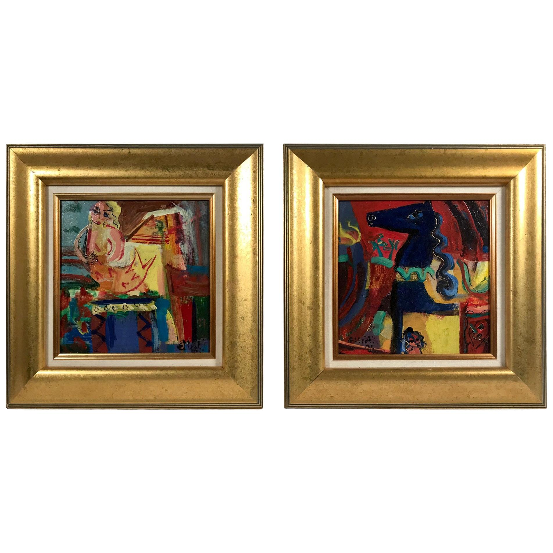 Pair of Original Paintings, Expressionist Surrealist Oil on Wood Panel, Signed
