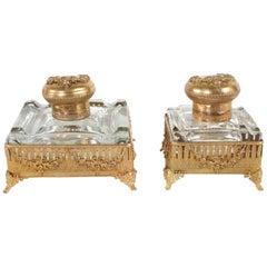 Pair Ornately Gilt Brass Framed Footed Glass Inkwells