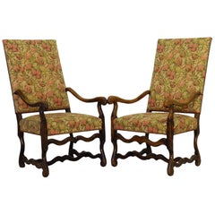 Pair of Os de Mouton Open Armchairs French 19th Century Throne Chairs Walnut
