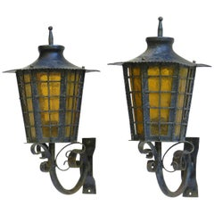 Pair of Outdoor Sconces Exterior Wall Lights Lanterns Iron Glass, French