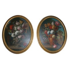 PAIR OVAL FLORAL STILL LIFES