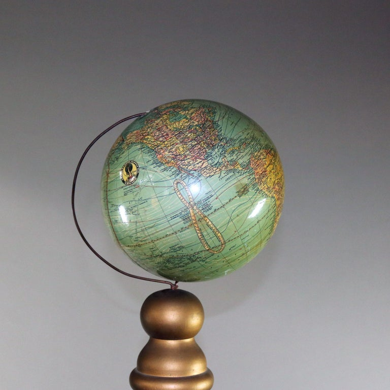 Globes For Sale >> Oversized Masonic Lodge Ceremonial Gilt Corinthian Columns World Globes Pair