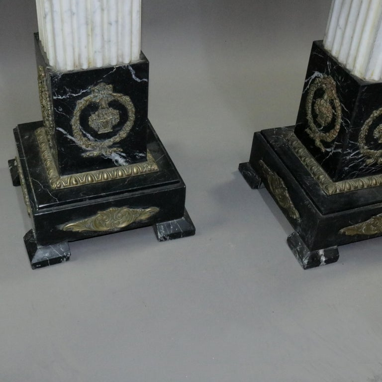 Pair of Oversized Neoclassical Italian Marble and Ormolu Sculpture Pedestals For Sale 4