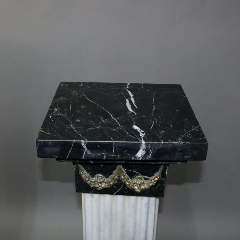 Pair of Oversized Neoclassical Italian Marble and Ormolu Sculpture Pedestals For Sale 5