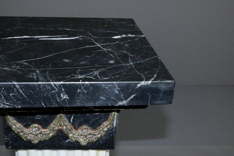 Pair of Oversized Neoclassical Italian Marble and Ormolu Sculpture Pedestals For Sale 6