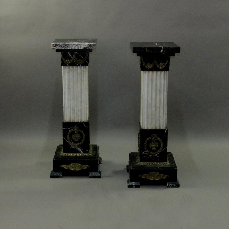 Pair of Oversized Neoclassical Italian Marble and Ormolu Sculpture Pedestals In Good Condition For Sale In Big Flats, NY