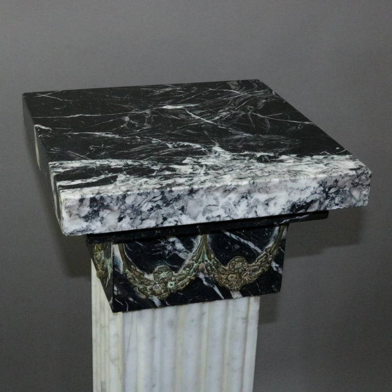 20th Century Pair of Oversized Neoclassical Italian Marble and Ormolu Sculpture Pedestals For Sale