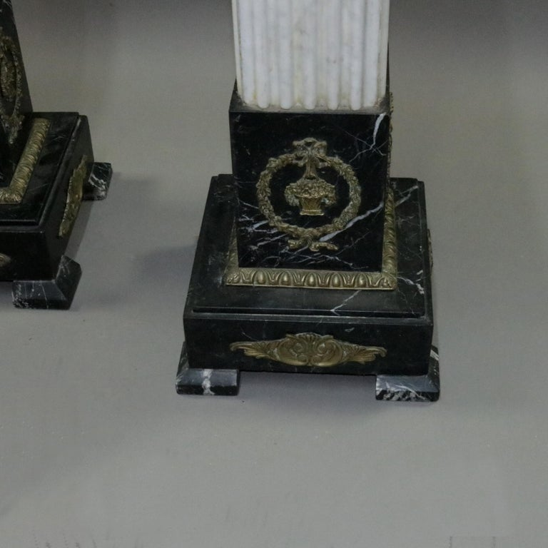 Pair of Oversized Neoclassical Italian Marble and Ormolu Sculpture Pedestals For Sale 2
