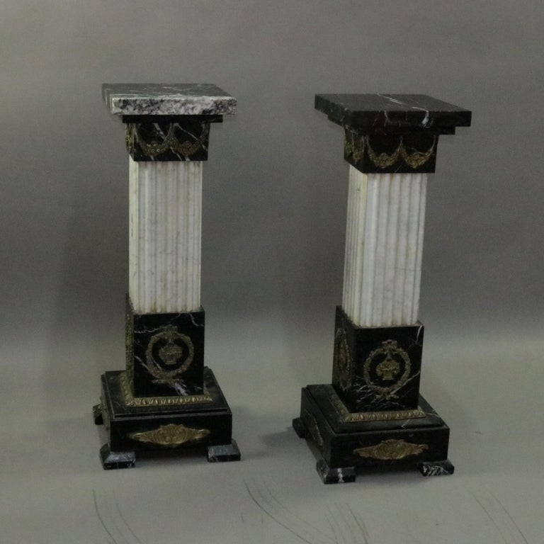 Pair of Oversized Neoclassical Italian Marble and Ormolu Sculpture Pedestals For Sale 3