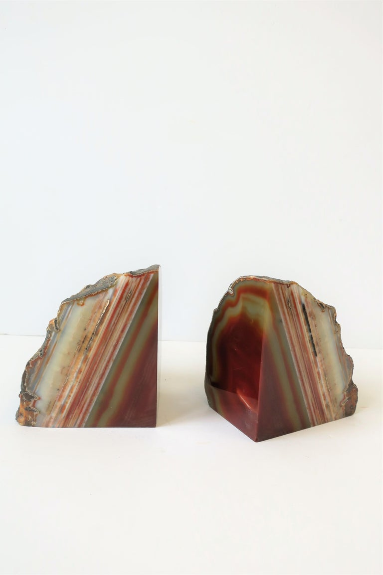 Modern Pair Burgundy Red Onyx Marble Bookends, ca. 1970s For Sale