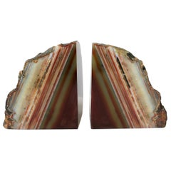 Pair Burgundy Red Onyx Marble Bookends, ca. 1970s