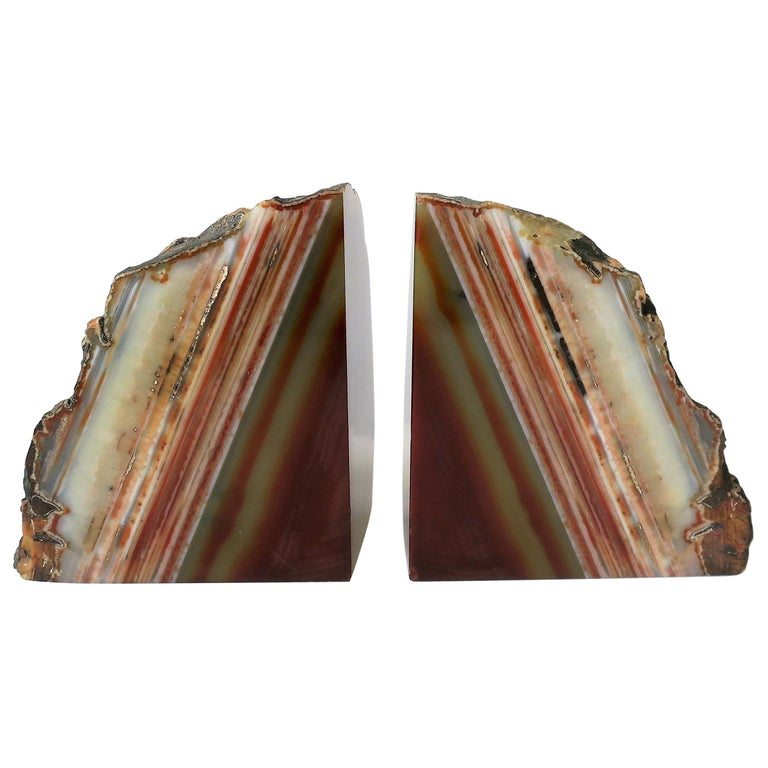 Pair Burgundy Red Onyx Marble Bookends, ca. 1970s For Sale