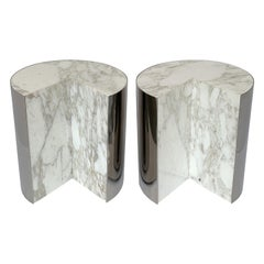 Pair of Pace Collection Marble and Steel Pie Shaped Side Tables