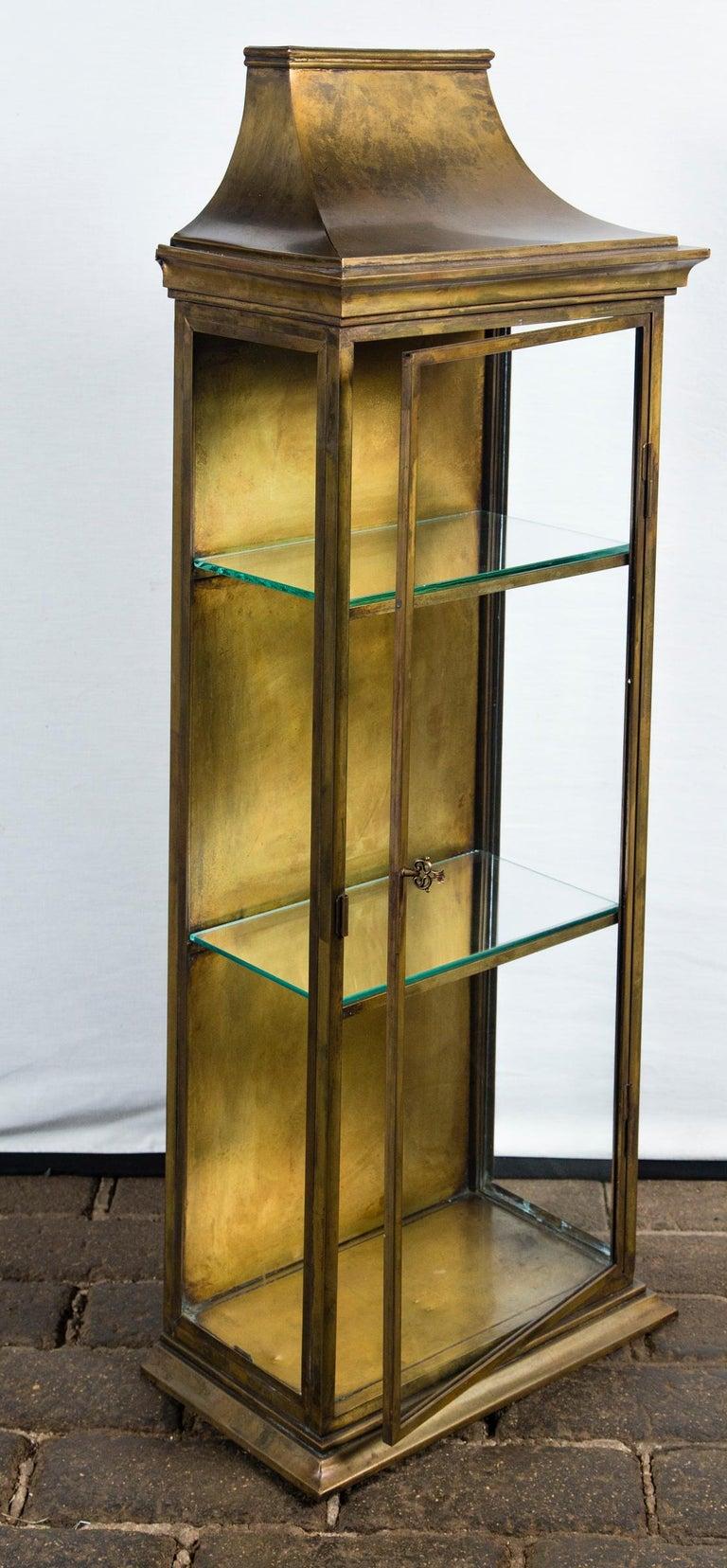 Pagoda Style Brass Vitrine For Sale 1