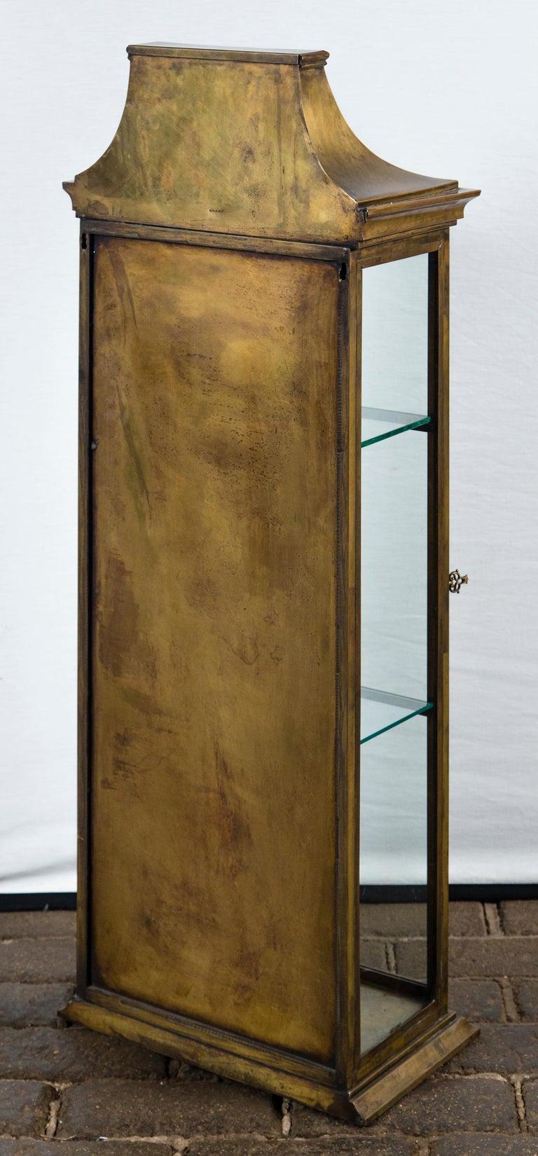 Pagoda Style Brass Vitrine For Sale 4