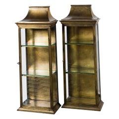 Pair of Pagoda Style Brass Vitrines