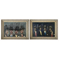 """Pair Paolo Corvino Oils on Canvas """"Cigar Friends"""" Signed"""