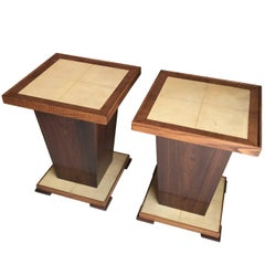 Pair of Parchment Top Side Tables, France, 1960s