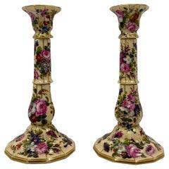 Pair of Paris Porcelain Candlesticks, Jacob Petit, circa 1840