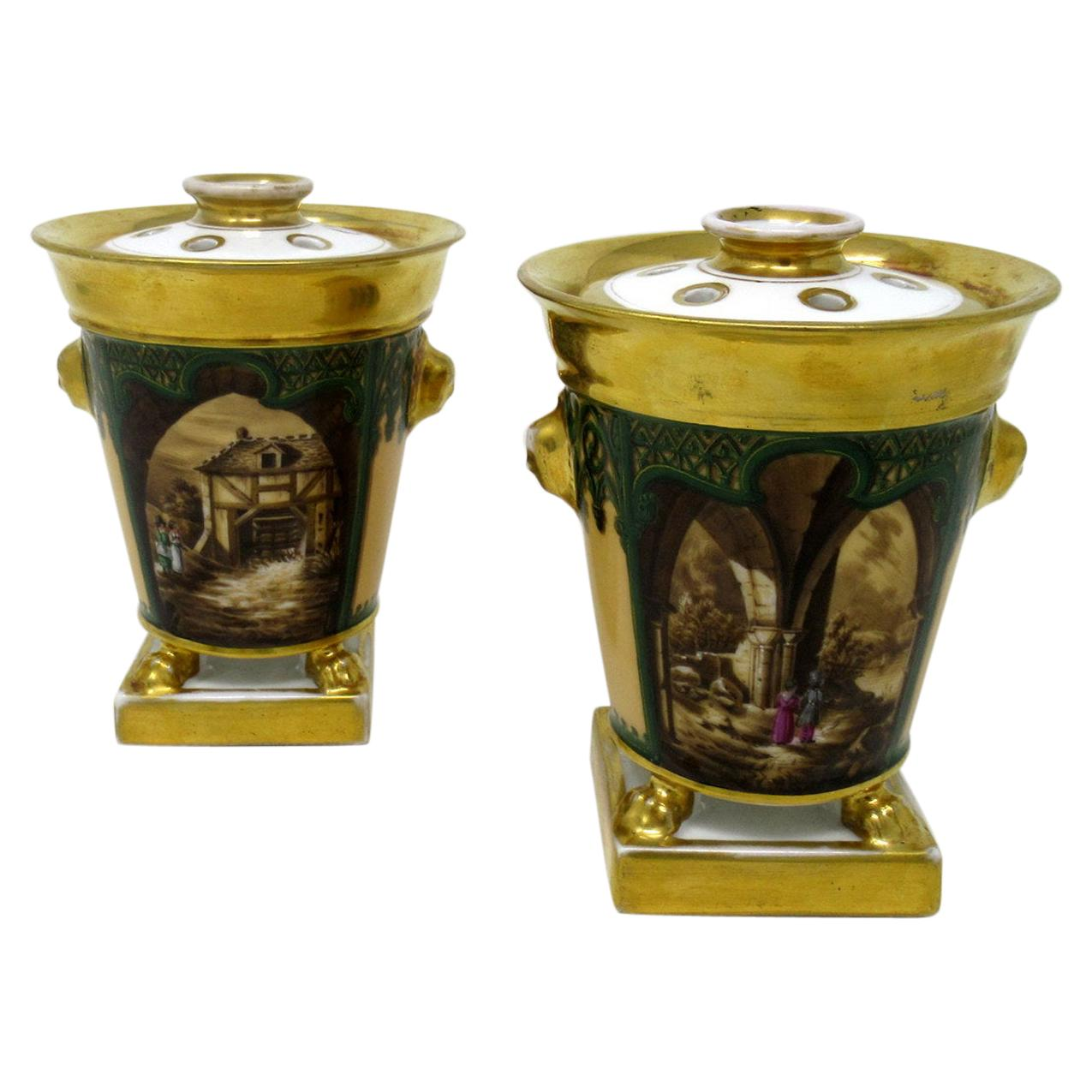 Paris Porcelain Gilt Bough Pots Pourri Vases by Darte Frères Palais Royal, Pair