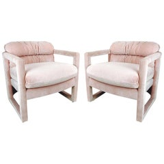Pair of Parson Style Milo Baughman for Drexel Lounge Chairs