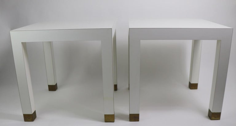 Pair Of Parsons Tables In White Formica With Brass Feet