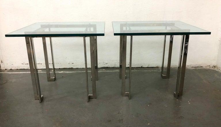 Steel Pair Paul M. Jones End Tables For Sale