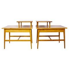 Pair Paul McCobb Planner Group Birch Step End Tables, 1960's
