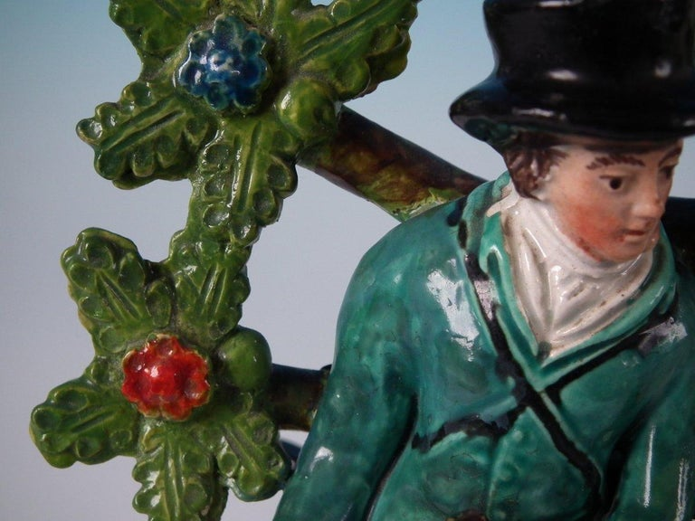 Pair of Pearlware Staffordshire 'Sports Man' & 'Archer' Figures For Sale 5