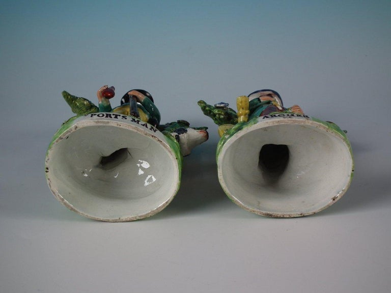 Pair of Pearlware Staffordshire 'Sports Man' & 'Archer' Figures For Sale 13