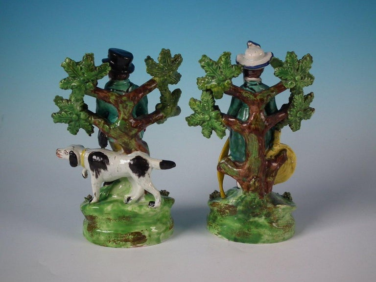 Folk Art Pair of Pearlware Staffordshire 'Sports Man' & 'Archer' Figures For Sale
