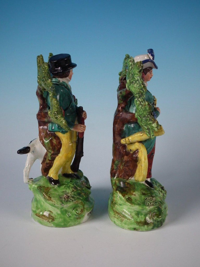 English Pair of Pearlware Staffordshire 'Sports Man' & 'Archer' Figures For Sale