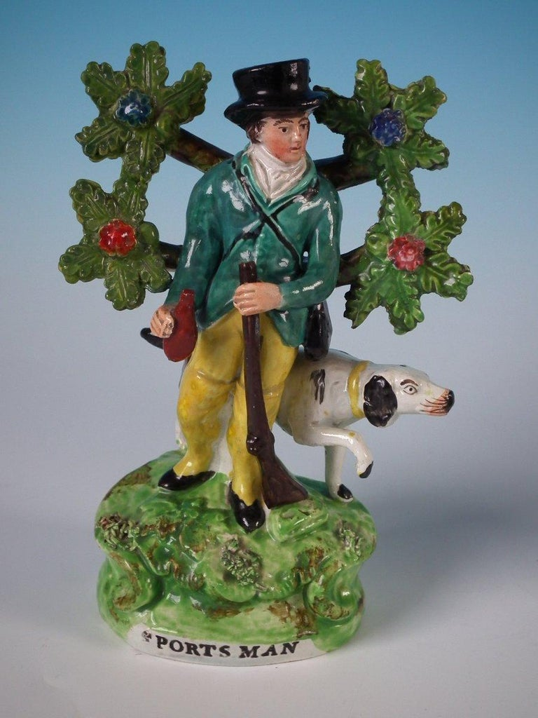 Pair of Pearlware Staffordshire 'Sports Man' & 'Archer' Figures In Good Condition For Sale In Battlesbridge, Essex