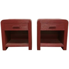 Pair of Pencil Reed Night Stands or End Tables 1980s