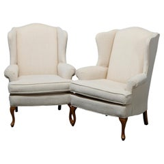 Pair Pennsylvania House Queen Anne Style Upholstered Wingback Armchairs, 20th C